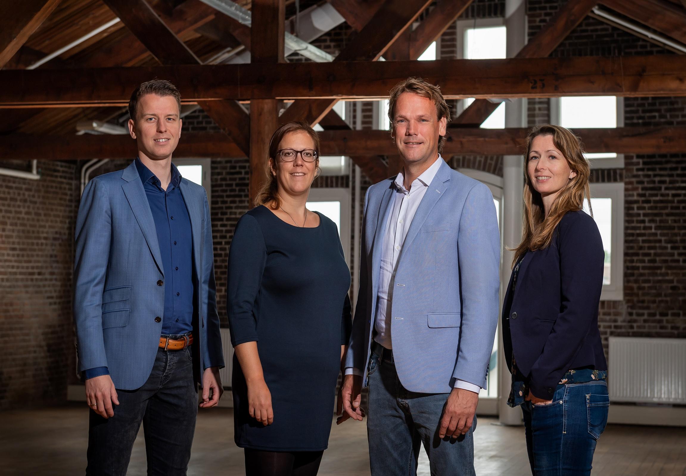 Het team van Louter Recruitment: Jeffrey, Heline, Timo en Zoraida